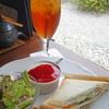 日本庭園風カフェでモーニング