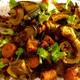 トルコ風焼きスパニッシュ鯖、焼き野菜、白菜、大根、椎茸その他のあっさりスープ