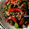 万願寺唐辛子と牛肉の炒め物