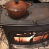 薪ストーブでシチューを温め直しをしてみました