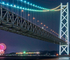 遠くから眺める花火「明石海峡大橋と淡路市夏まつりの花火」