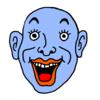 嬉しくて笑っている青色の顔 のイラスト