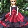 赤に黒のドットのドレス