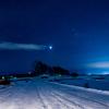 美瑛の明け方の星と虹色&金色の朝焼けの風景【12月11日撮影】