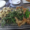 幸運な病のレシピ( 450 )夜:タケノコ・ヤマウド・手羽・ゴーヤ・シシトウの天ぷら、さんま塩焼、ポテトサラダ