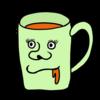 口元のゆるいマグカップ のイラスト