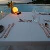 夜のプールで 「スペイン料理」 @The Retreat クダドゥモルディブ