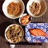 焼き鮭、きんぴらごぼう、小粒納豆、キムチ。