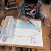 2年生:図工 魚のお話を聞いて描く