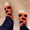 靴下のパリパリの原因を記者会見で説明する
