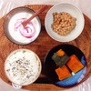 かぼちゃの煮物、小粒納豆、ヨーグルト。