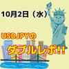 【10/2】ドル円日足のダブルレポ