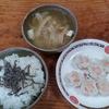 干し大根とモヤシの味噌汁とエビ焼売