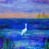【アクリル画】水辺の鳥と夕暮れの街