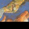 うお座3 ギリシャ神話には三つのバージョンが.その2 ヴィーナスとキューピッドがシリアのユーフラテス川にやってきました.そこにテューポーンが現れました.ヴィーナスと息子は,河に身を投げ,魚に変身しました. その3 すばらしい形の卵が,ユーフラテス川に落ちてきたといわれています.その魚は卵を土手に運びました.鳩がその上に座り,暖めると,卵は割れてヴィーナスが生まれました.