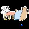 テントと寝袋を干す猫の無料イラスト