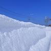 歩道に雪の壁が!昔はこういう普段にはない非日常を楽しんだなぁって思いだしました。