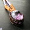 レア・希少!レインボー入り!精神を安定させ、本来の自分を取り戻したいあなたへ!虹入りぷっくりアメジスト(紫水晶)×8面&ガネーシャのルドラクシャマーラーペンダント(菩提樹の実)第7チャクラ対応