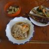 幸運な病のレシピ( 461 )朝:シシャモ焼き、イワシ米糠漬け、タケノコと車麩の煮しめ、豚肉と蕪菜の照り焼き、(462) 冷やし中華