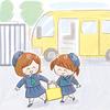 通園バスと園児_子供イラスト