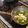 幸運な病のレシピ( 2069 )朝 :味噌汁(ワラビ・コシアブラ・タラの芽・タケノコ)、マユのご飯