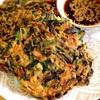 玄米粉とエビ粉のニラチヂミ