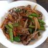 幸運な病のレシピ( 1290 )朝:チンジャオロース風牛肉炒め(タケノコ、ピーマン、アスパラ)、ニシン煮しめ、塩ます、イワシ、味噌汁(生わかめ)