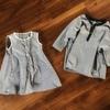 大人ワンピースから子供服2枚にリメイク!ギンガムチェックのトップスとAラインワンピに作り替え