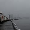 靄の東京湾(豊海埠頭)