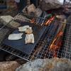 焚き火と網と鉄板を使用したミニマルなBBQ
