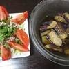 牛しゃぶサラダ、なすの揚げ浸し、味噌汁
