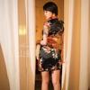 上海中国風セットでチャイナドレス美女ポートレート撮影。