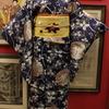 紺地朝顔と萩絹紅梅小紋×黄色花柄刺繍名古屋帯