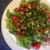 にんにくとマッシュルームをさっと炒めて作る簡単!「マッシュルームグリーンサラダ」作り方・レシピ。