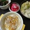 白菜厚揚げの煮物、れんこんチーズ焼き、なすの揚げ浸し