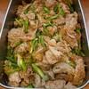 豚肉とアスパラ、新玉葱、いんげんの生姜焼き