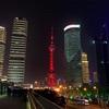 春節恒例赤い上海の夜景
