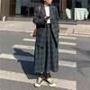 韓国ファッション レディース セットアップ チェック柄 テーラードジャケット + ロングスカート