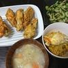 フライドチキン、きゅうり塩昆布あえ、ジャンバラヤ風?、スープ