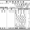 ヒゲタ醤油株式会社 第124期決算公告