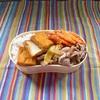 豚コマのネギ塩炒めと人参のかき揚げ弁当
