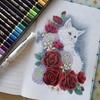 完成】長毛猫さんとバラのページをペリシア色鉛筆で塗ってみた☆おとニャーの塗り絵ノートより
