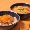 納豆卵かけご飯とトマト卵スープ