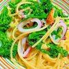 菜の花とやりいかの塩麹ペペロンチーノ