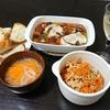 きんぴらレンコン、アヒージョ、スープ
