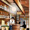 東京八重洲にある飴色酒場「ふくべ」をエクセルで描いてみた