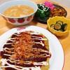 今日の夕食 お好み焼き&餃子の味噌汁