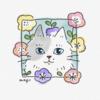 本日のイラスト 猫と花