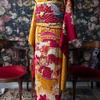 花籠の振袖×ダリアの帯