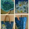 春の雨と花ブルー系バッグ